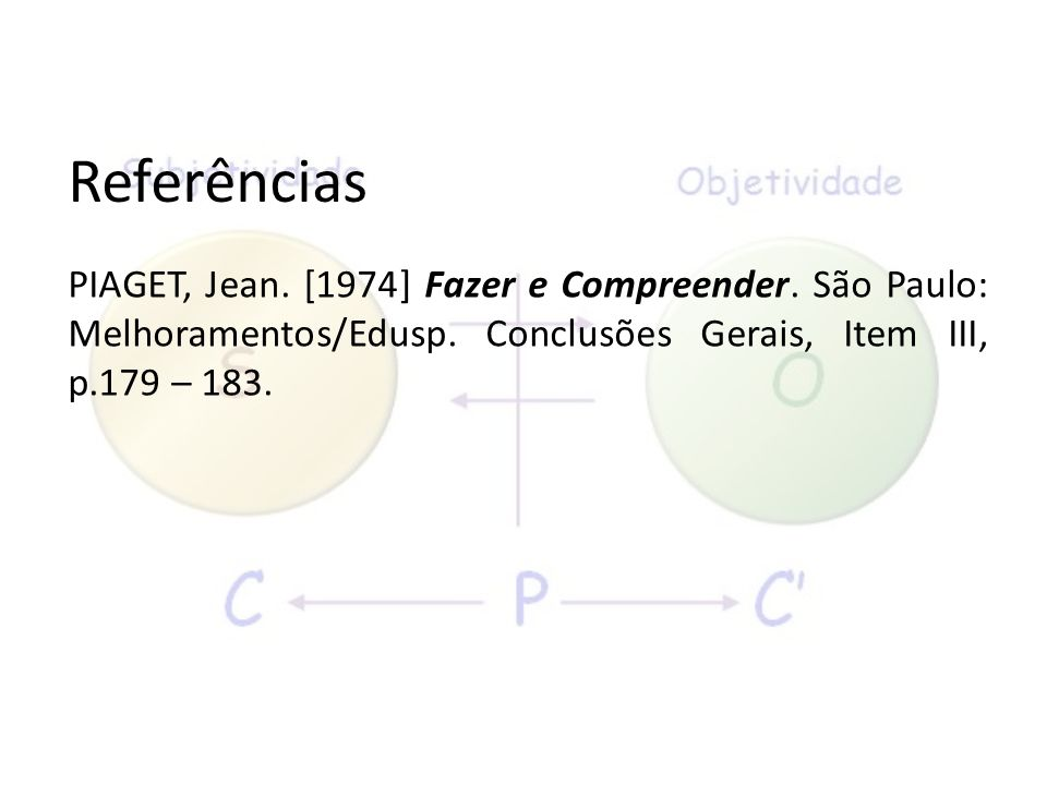 Referências PIAGET, Jean. [1974] Fazer e Compreender.